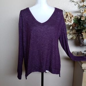 A.N.A Purple Crop Sweater with Back Bow, size L
